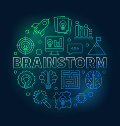 brainstorm round colored outline vector image