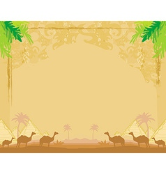 Camel caravan in wild africa - abstract grunge vector