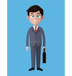 Cartoon business man success work with portfolio vector