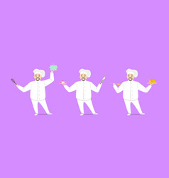 cartoon character person chef cooking set vector image