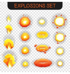 Cartoon Explosion Transparent Set vector