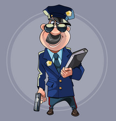 cartoon man in police uniform with guns vector image