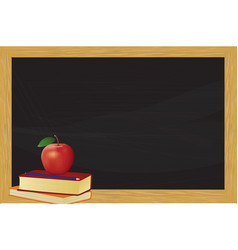 chalkboard with books and apple vector image