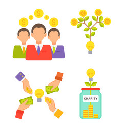 charity jar people with money vector image