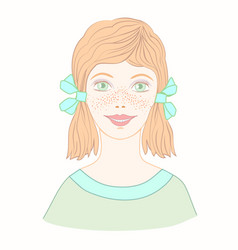 Cheerful cute young girl with freckles and red vector