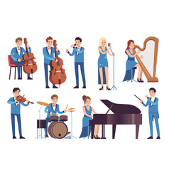 classic musicians singers performing symphony vector image
