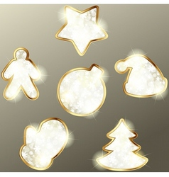 collection golden winter icons vector image
