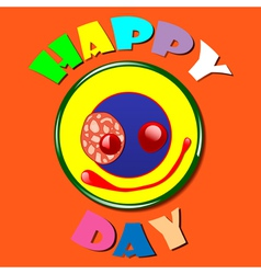 Comic yellow plate Happy Day vector image