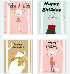 cute happy birthday boy and girl cartoon card vector image