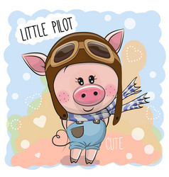 cute pig in a pilot hat vector image