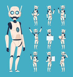 Cute robots android characters in action poses vector