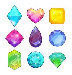 Different gemstones brilliants and diamonds in vector