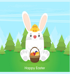 easter bunny with chicken in flat style vector image
