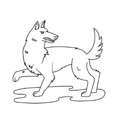 Fairy wolf cartoon coloring book vector image