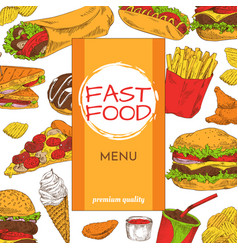 Fast food menu premium quality vector