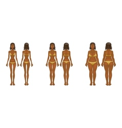 Fat and thin woman normal anorexia body vector image