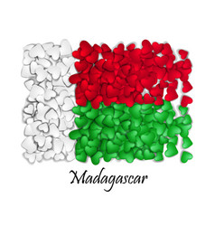 Flag love madagascar flag heart glossy with love vector