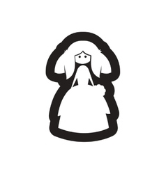 Flat icon in black and white bride vector