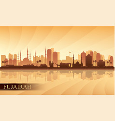 Fujairah city skyline silhouette background vector