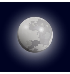Full moon seen with a telescope Luna flat icon vector image