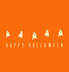 Funny ghosts on ropes happy halloween design vector
