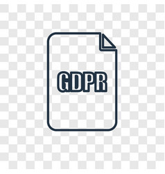 gdpr concept linear icon isolated on transparent vector image