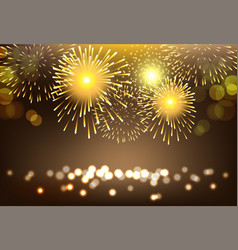 Golden firework on city landscape background for vector
