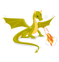 Green magical dragon breathing fire vector