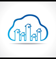 Group of up homes in the cloud vector image