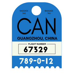 Guangzhou airport luggage tag vector