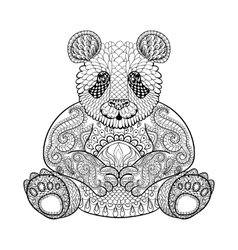 Hand drawn tribal Panda animal totem for adult vector image