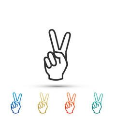 hand showing two finger icon victory hand sign vector image