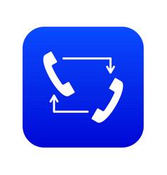 handsets with arrows icon digital blue vector image
