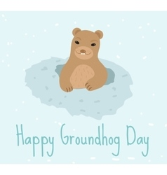 Happy Groundhog Day Greeting card flat style vector image
