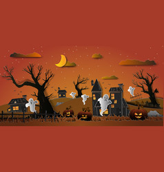 Happy halloween design paper style with ghost vector