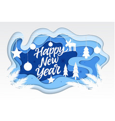Happy new year - modern paper cut vector