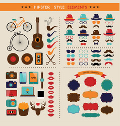 hipster colorful retro vintage icon set vector image