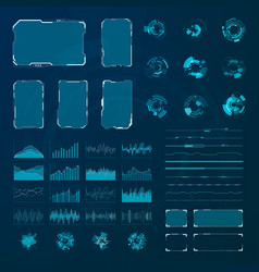 hud elements set graphic abstract futuristic hud vector image