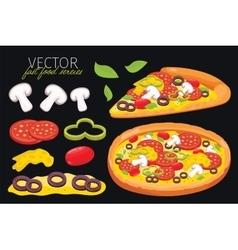 Isolated mushrooms pizza fast food set vector