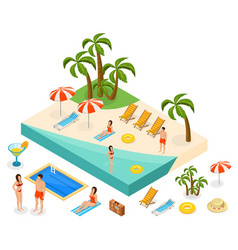 isometric island travel concept vector image