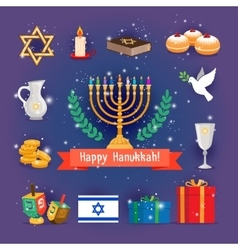 Jewish holidays hanukkah or chanukah icons vector