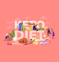 Ketogenic diet concept male and female characters vector