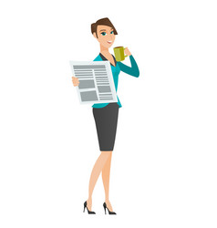 Lady drinking coffee and reading news in newspaper vector