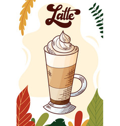 latte winter or autumn drink for your design vector image