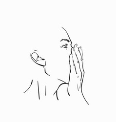Linear sketch young woman face covering her vector