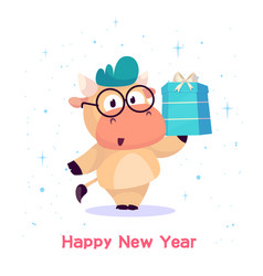 little bull holds in a box with a gift year vector image