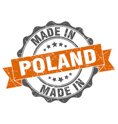 Made in poland round seal vector