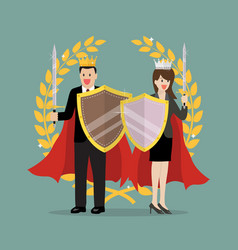 man and woman with shield sword and golden wreath vector image