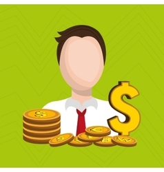 man with coins isolated icon design vector image