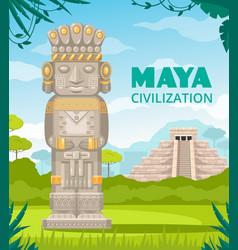 Maya civilization monuments cartoon vector